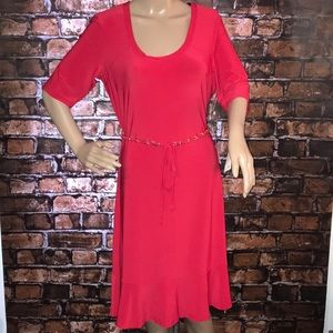 NWT Lennie For Nina Leonard belted red dress